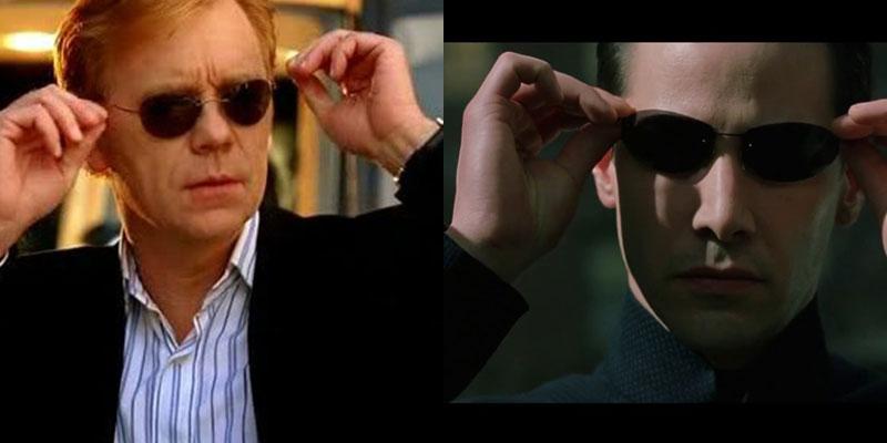 Horatio Caine aus CSI Miami und Neo aus The Matrix setzen sich ihre Sonnenbrillen auf