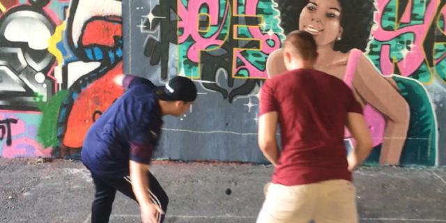 Beim Urban Handball-Spiel