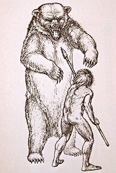 Illustration: Steinzeitmensch attackiert Höhlenbär mit einem Speer