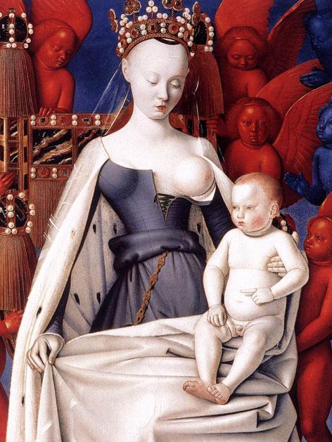 """Das Bild """"Die Jungfrau und das Kind von Engeln umgeben"""" von Jean Fouquet, ca. 1450"""