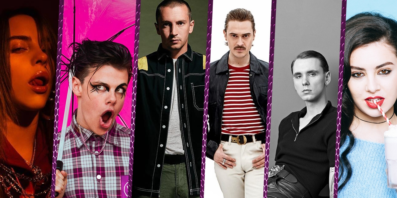 Kollage von 6 Acts beim FM4 Frequency Festival: Billie Eilish, Yungblud, Twenty One Pilots, Little Big, Drangsal, Charli XCX