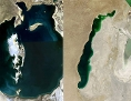 Satellitenaufnahmen vom Aralsee 2008 und 2013. Seit den 1960er Jahren schrumpfte der See auf 10 Prozent seiner ursprünglichen Größe. Das Wasser aus Zubringerflüssen wurde für die Industrie abgezweigt.