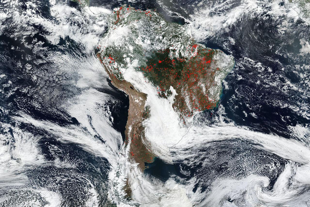 Aufnahme von Südamerika aus dem Weltraum