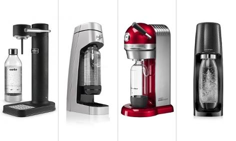 Montage zeigt die Wassersprudler der Firmen Aarke, Soda Trend, Kitchenaid und Sodastream