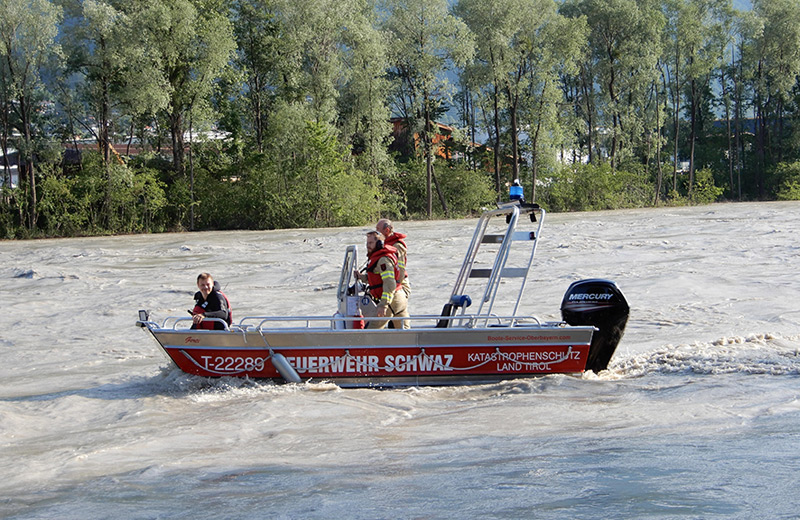 Hochwasser im Inn bei Schwaz im Juni 2019