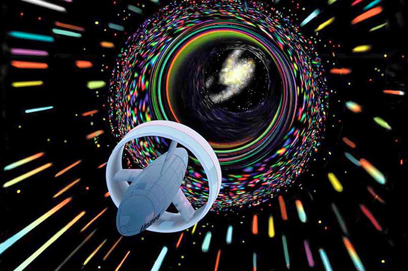 Illustration: Raumschiff rast auf ein Wurmloch zu