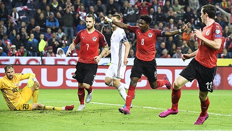 ÖFB-Teamspieler beim Match gegen Lettland