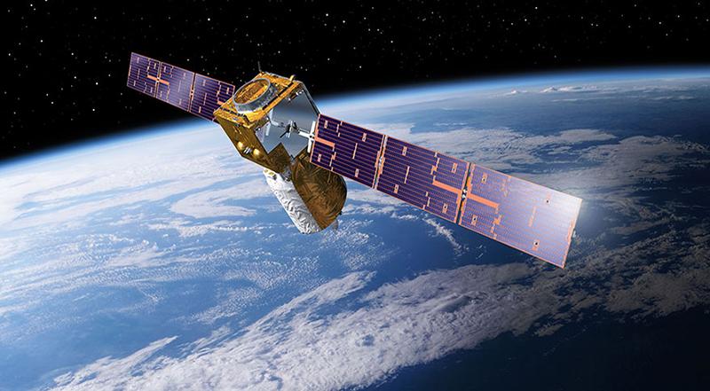 "Illustration: Erdforschungssatellit ""Aeolus"" im All"