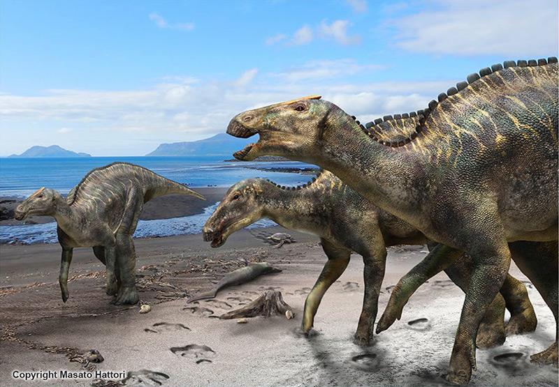 Rekonstruktion: Entenschnabeldinosaurier am Meer