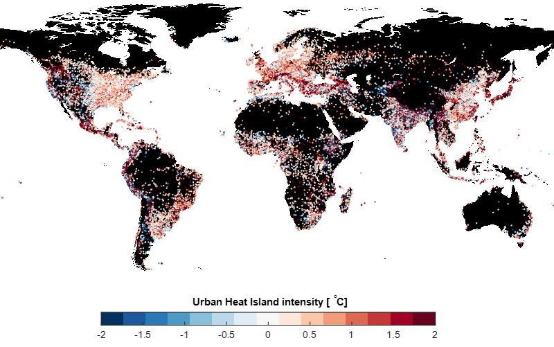 Überblick, in welchen Städten die Temperatur mit zusätzlichen Grünflächen gesenkt werden könnte