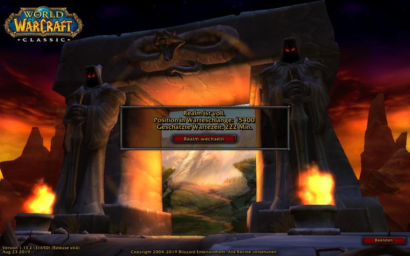 Login Screen (Warteschlange) bei World of Warcraft Classic