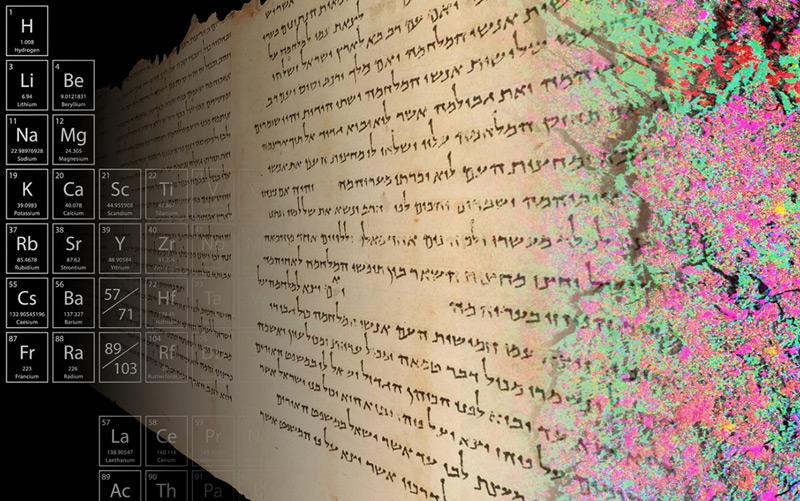 Verteilung der Elemente, die in einem Stück der Tempelrolle gefunden worden - dargestellt durch verschiedene Farben