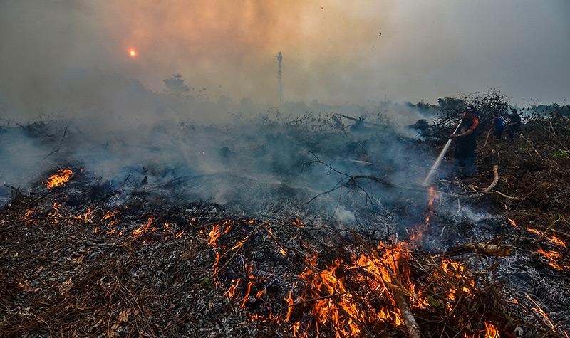 Löscharbeiten an Bränden, dichter Rauch steigt auf