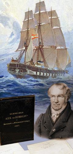 Collage mit der Fregatte Novara und Humboldt