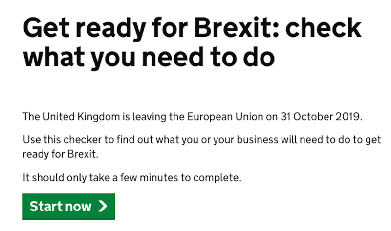 "Aus der Regierungswebsite: ""The UK is leaving the EU on 31st October"""