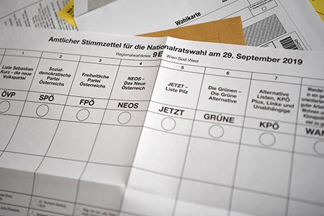 Stimmzettel aus einer Wahlkarte für die bevorstehende Nationalratswahl am 29. September 2019