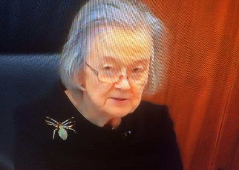 Vom TV abfotografiert: Lady Hale mit Spinnenbroche