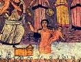Auffindung des Mose (Wandmalerei aus der Synagoge von Dura Europos, Syrien, 3. Jh. n. Chr.)