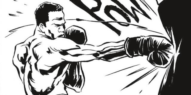 Grafic Novel: Boxer schlägt auf Sandsack