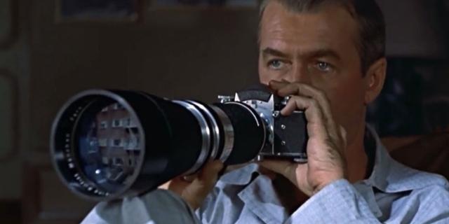 """James Stewart in """"Rear Window"""""""