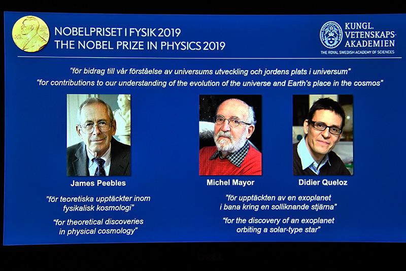 Die drei Physik-Nobelpreisträger des Jahres 2019