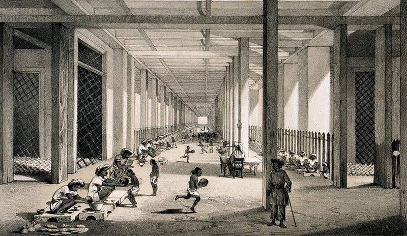 Lithographie, Opiumfabrik im kolonialen Indien (London : Maclure, Macdonald & Macgregor lith., [1851]) (Ausschnitt)