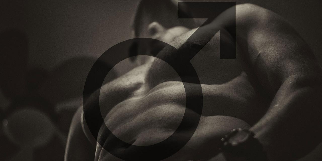 Nackter Oberkörper eines Mannes mit Männlichkeits-Zeichen