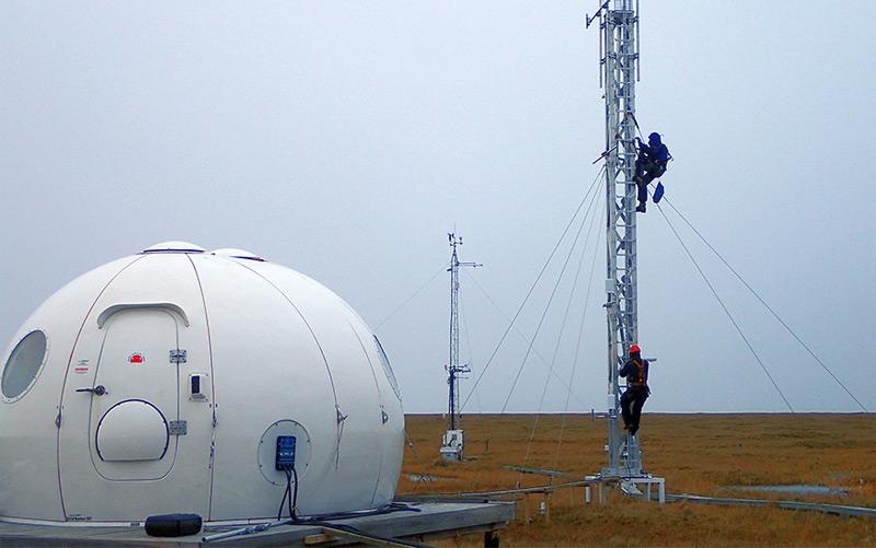 """Messstation auf """"Samoylov Island"""" im zentralen Lena-Delta in Sibirien"""