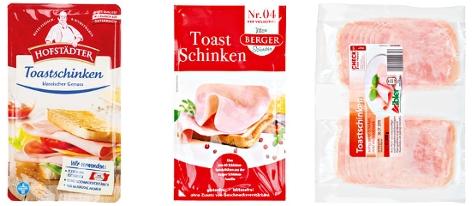 Kombo der Toastschinkenmarken Hofstädter, Berger und Aibler