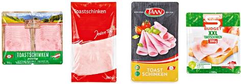 Kombo der Toastschinkenmarken Ich bin Österreich, Jeden Tag, S-Budget und Tann