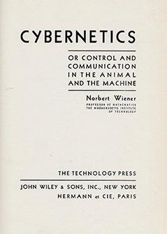 "Titelblatt von Norbert Wieners Buch ""Cybernetics"""