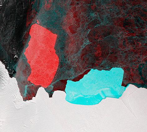 """Satellitenbild: Der Eisberg """"D28"""" hat sich um 90 Grad gedreht"""