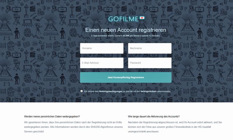 Anmeldemaske mit unzureichender Button-Lösung bei gofilme.de