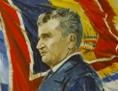 Gemälde von Nicolae Ceausescus vor rumänischer Fahne