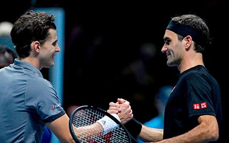 Dominic Thiem und Roger Federer