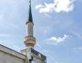 Minarett der Moschee am Hubertusdamm in Wien 22.