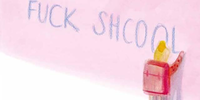 "Comic: Mädchen schreibt ""Fuck Shcool"" an eine Wand"