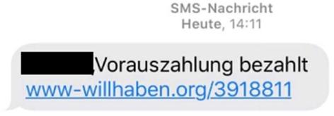 Screenshot einer betrügerischen SMS mit Weiterleitung auf eine gefälschte Willhaben-Website