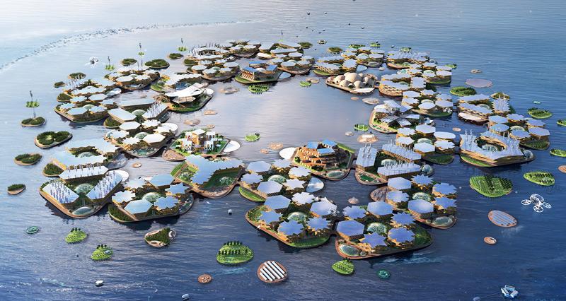 Visualisierung von Oceanix City von oben