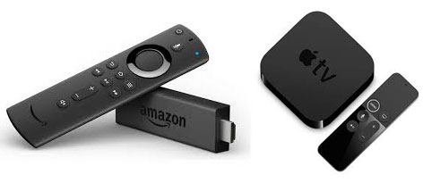 Amazon-Fire und Apple TV-Box