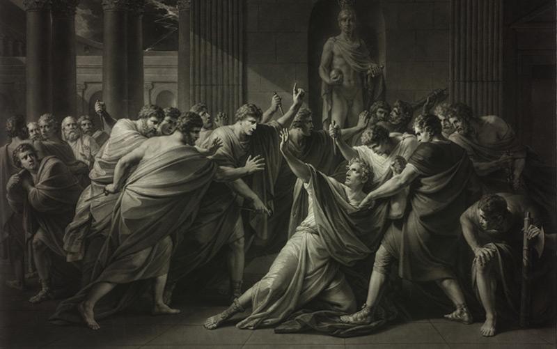 Die Ermordung Gaius Julius Caesars: Schabblatt von Georg Vincenz Kininger 1829 nach Gemälde von Heinrich Friedrich Füger.