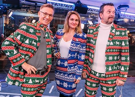 Robert, Gabi und Andi im Weihnachtsoutfit