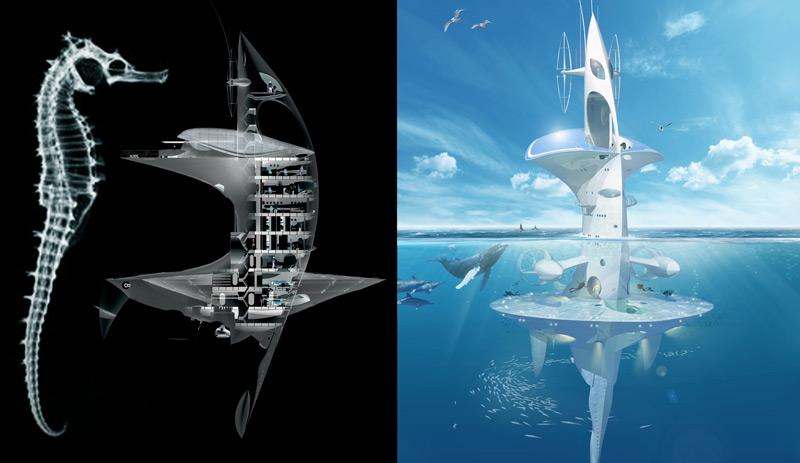 Modell von Wohneinheit auf und unter dem Wasser, dem Seepferdchen nachempfunden