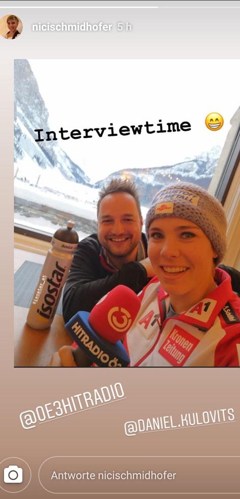Nicole Schmidhofer postet ein Bild vom Ö3-Interview mit Daniel Kulovits