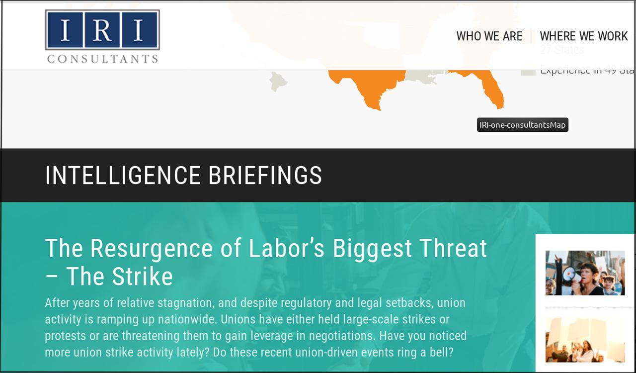 Screenshot Iri Consultants Intelligence Briefing