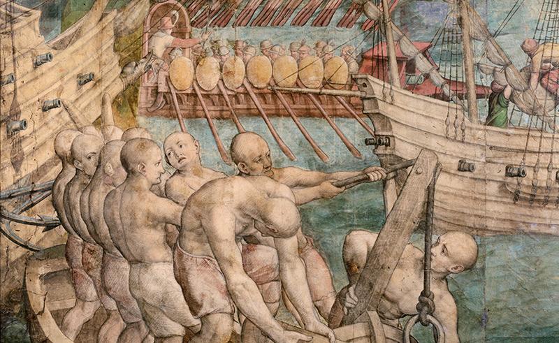 Galeeresklaven, Detail aus: Kriegszug Kaiser Karls V. gegen Tunis, Jan Cornelisz Vermeyen, 1546/1550