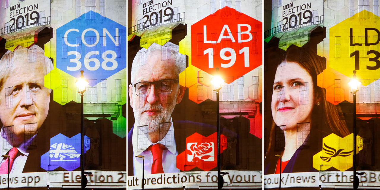 BBC Exit Polls auf Hausmauer projiziert