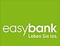 """Weißer Schriftzug """"Easybank"""" auf grasgrünem Hintergrund"""