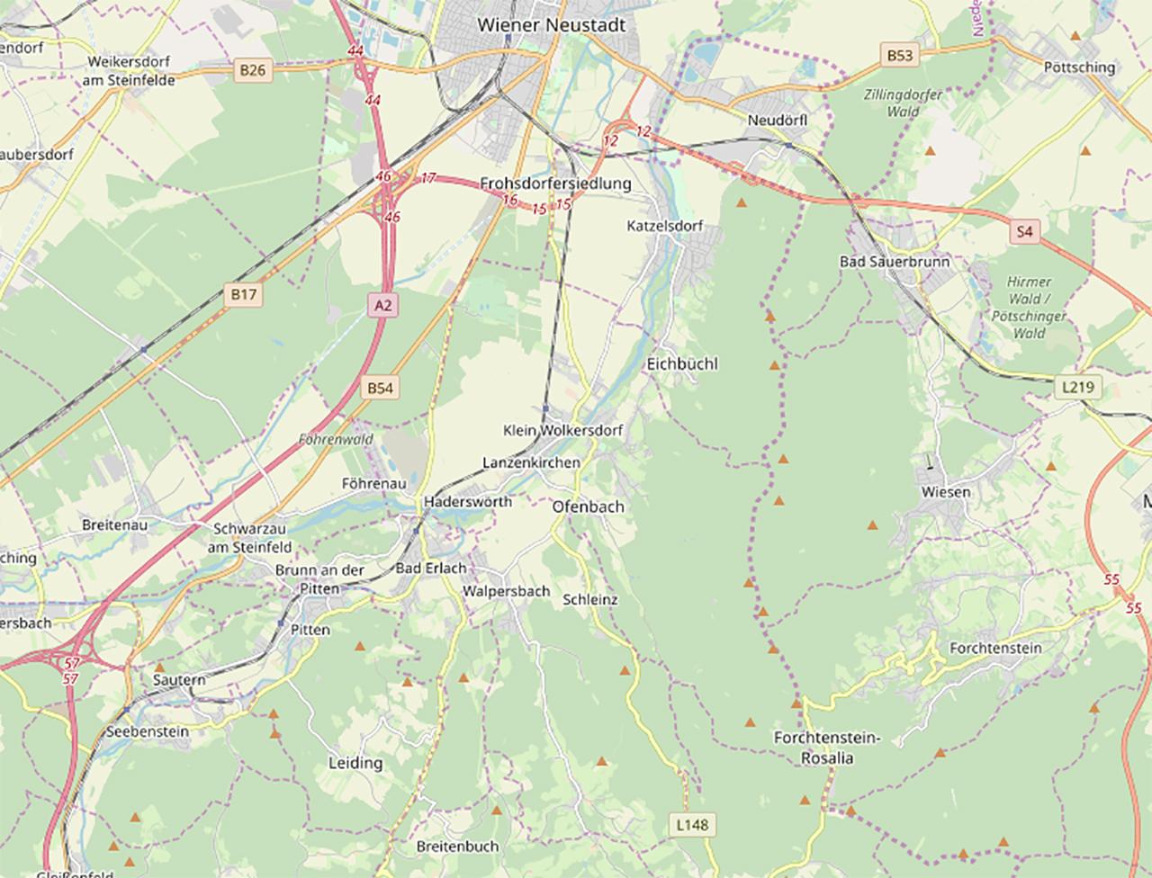 Karte mit Lanzenkirchen