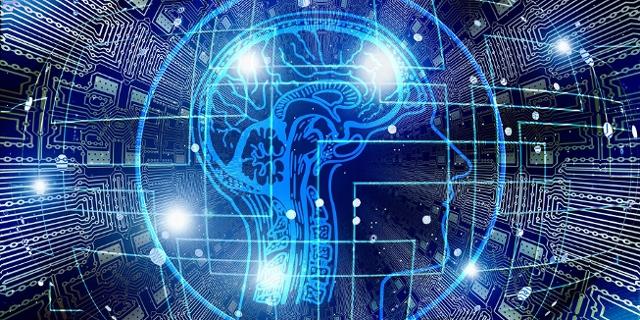 Ein Mensch und blaue digitale Linien